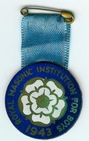 TH277 Royal Masonic Institution for Boys 1943 cardboard stewards jewel-0