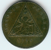 """TH184 The rare 1796 """"official"""" Masonic Sketchley Penny-0"""