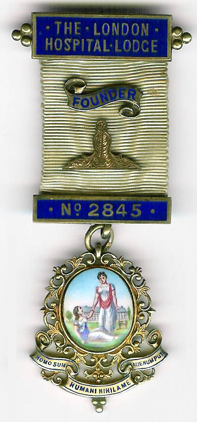 TH451-2845 The London Hospital Lodge No. 2845 Founders Jewel in Hallmarked silver.-0