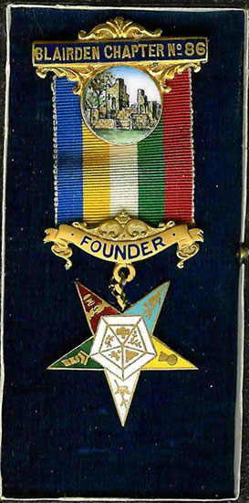 The Order of the Eastern Star Blairden Chapter No. 86 Founders medal 1919.-0