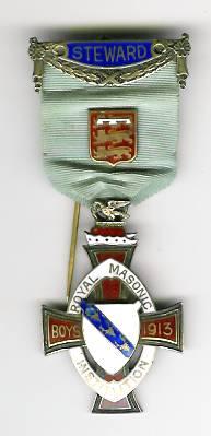 TH276 Royal Masonic Institution for Boys 1913 Stewards jewel.-0