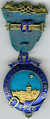 TH522 Lodge Star in the East No. 67 large Pre-Regulation centenary jewel with Bi-centenary bar.-0