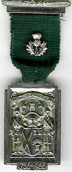 TH251d The 250th Anniversary of the Grand Lodge of Scotland 1736-1986 with thistle on ribbon.-0
