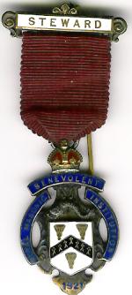 TH281 Royal Masonic Benevolent Institution 1921 Stewards jewel. -0