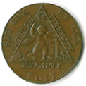 TH180-22 1790 Sketchley Masonic Halfpenny Token -0