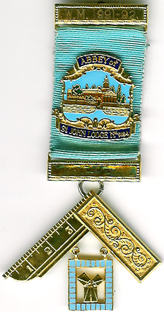 TH455-9184 Abbey of St.John Lodge No. 9184 Past Masters jewel.-0