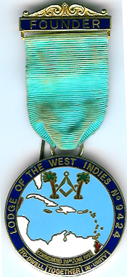 TH451-9424 Founders jewel for Lodge of the West Indies No. 9424-0