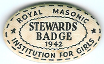 TH272 Royal Masonic Institution for Girls 1942 cardboard Stewards jewel. -0