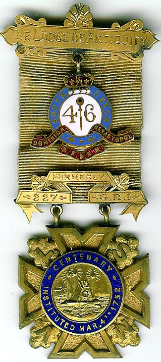 Canada Lodge of Antiquity No.1 Quebec 1852 rare Centenary jewel-0