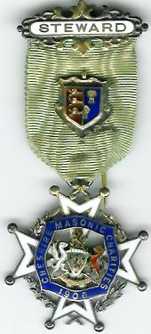 TH327 The 1906 Cheshire Masonic Charities silver Steward's jewel.-0