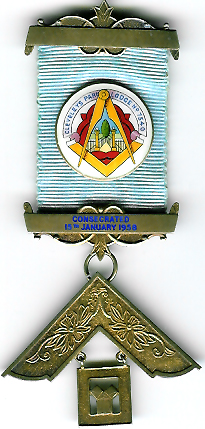 TH455-7540 Cleveleys Park Lodge No. 7540 silver Past Master's jewel.-0